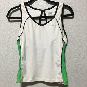 Nike Fit Dry White and Green Athletic Tennis Tank